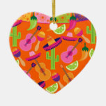 Fiesta Party Sombrero Cactus Limes Peppers Maracas Double-Sided Heart Ceramic Christmas Ornament