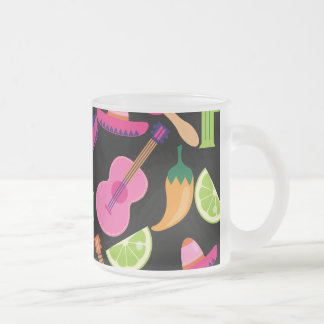 Fiesta Party Sombrero Cactus Limes Peppers Maracas Frosted Glass Coffee Mug