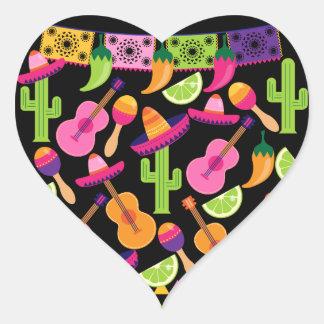 Fiesta Party Sombrero Cactus Limes Peppers Maracas Heart Sticker