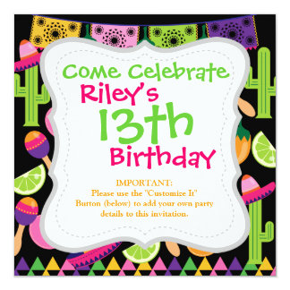 Fiesta Party Sombrero Cactus Limes Peppers Maracas Personalized Invite