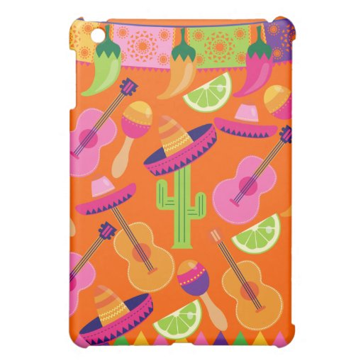 Fiesta Party Sombrero Cactus Limes Peppers Maracas Cover For The iPad Mini