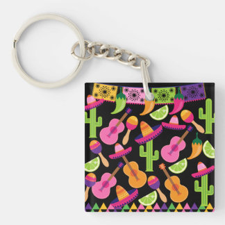 Fiesta Party Sombrero Cactus Limes Peppers Maracas Keychain