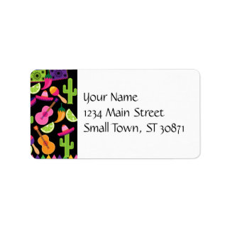 Fiesta Party Sombrero Cactus Limes Peppers Maracas Address Label