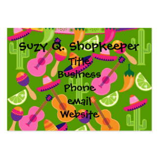 Fiesta Party Sombrero Cactus Limes Peppers Maracas Large Business Card