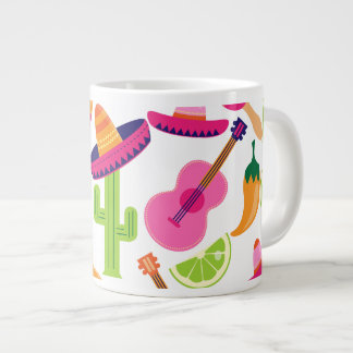 Fiesta Party Sombrero Cactus Limes Peppers Maracas Large Coffee Mug