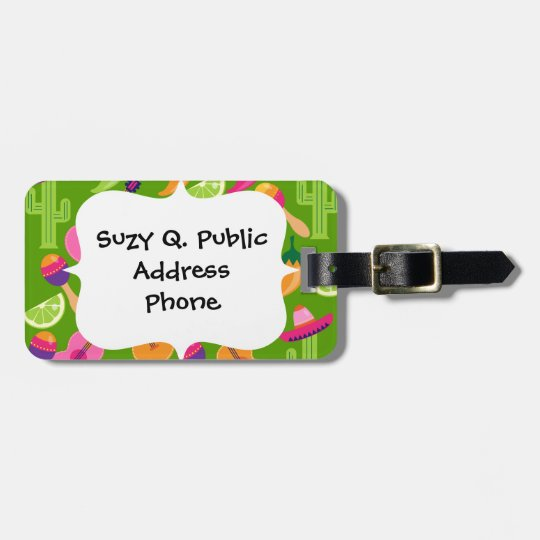 Fiesta Party Sombrero Cactus Limes Peppers Maracas Luggage Tag