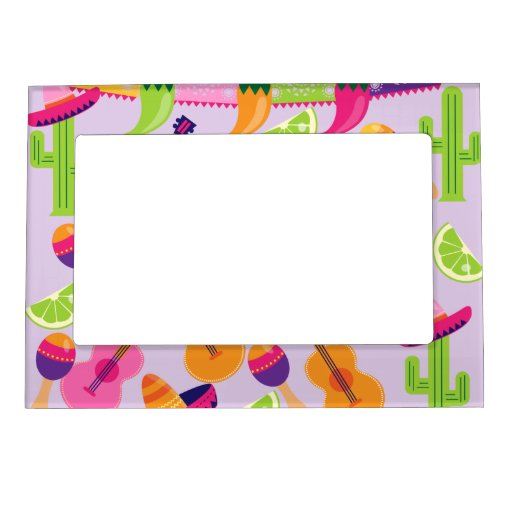 Fiesta Party Sombrero Cactus Limes Peppers Maracas Magnetic Photo Frames
