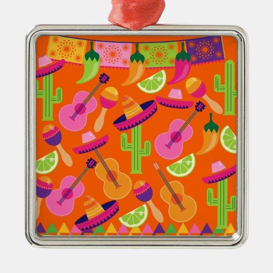 Fiesta Party Sombrero Cactus Limes Peppers Maracas Metal Ornament