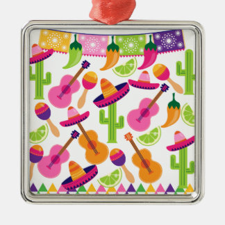 Fiesta Party Sombrero Cactus Limes Peppers Maracas Metal Ornament