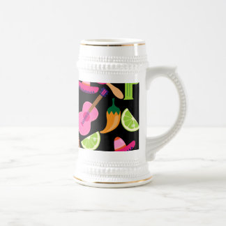 Fiesta Party Sombrero Cactus Limes Peppers Maracas Coffee Mug