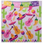 Fiesta Party Sombrero Cactus Limes Peppers Maracas Cloth Napkin