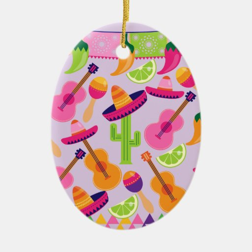 Fiesta Party Sombrero Cactus Limes Peppers Maracas Christmas Tree Ornaments