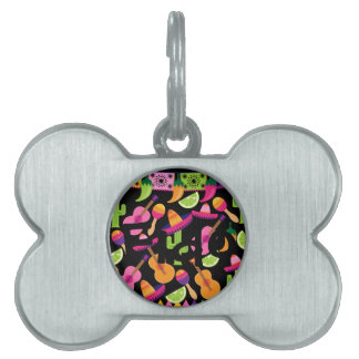Fiesta Party Sombrero Cactus Limes Peppers Maracas Pet Name Tag
