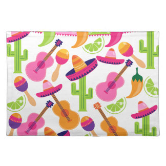 Fiesta Party Sombrero Cactus Limes Peppers Maracas Placemat