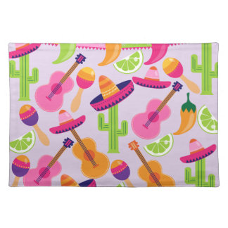 Fiesta Party Sombrero Cactus Limes Peppers Maracas Placemats