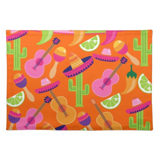 Fiesta Party Sombrero Cactus Limes Peppers Maracas Place Mat