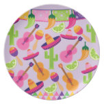 Fiesta Party Sombrero Cactus Limes Peppers Maracas Plate
