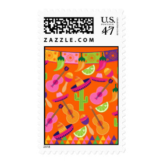 Fiesta Party Sombrero Cactus Limes Peppers Maracas Postage