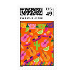 Fiesta Party Sombrero Cactus Limes Peppers Maracas Stamp