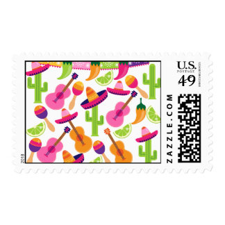 Fiesta Party Sombrero Cactus Limes Peppers Maracas Postage Stamp