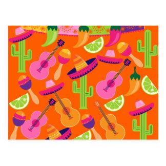 Fiesta Party Sombrero Cactus Limes Peppers Maracas Postcard