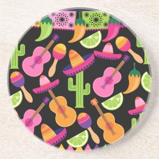 Fiesta Party Sombrero Cactus Limes Peppers Maracas Sandstone Coaster