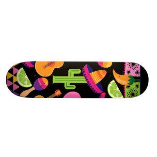 Fiesta Party Sombrero Cactus Limes Peppers Maracas Skateboard Deck