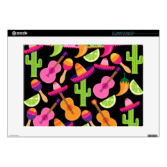 """Fiesta Party Sombrero Cactus Limes Peppers Maracas 17"""" Laptop Decal"""