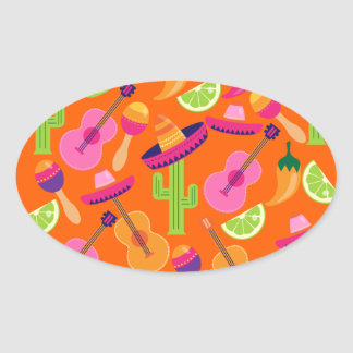 Fiesta Party Sombrero Cactus Limes Peppers Maracas Sticker
