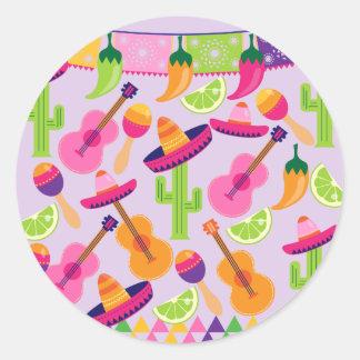 Fiesta Party Sombrero Cactus Limes Peppers Maracas Sticker