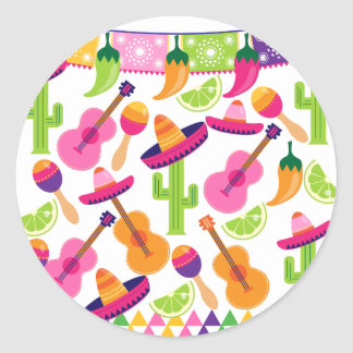 Fiesta Party Sombrero Cactus Limes Peppers Maracas Round Stickers
