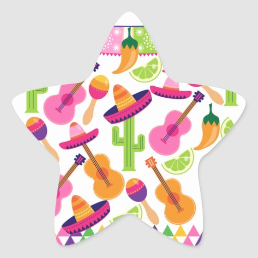 Fiesta Party Sombrero Cactus Limes Peppers Maracas Stickers