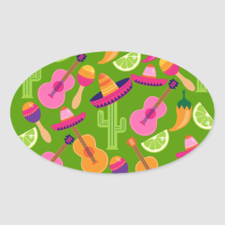 Fiesta Party Sombrero Cactus Limes Peppers Maracas Oval Sticker