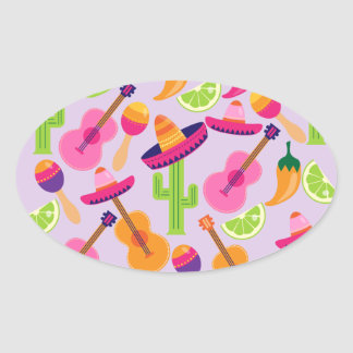 Fiesta Party Sombrero Cactus Limes Peppers Maracas Oval Stickers