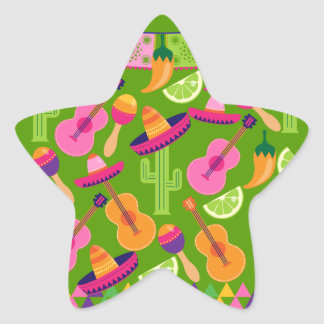Fiesta Party Sombrero Cactus Limes Peppers Maracas Star Stickers