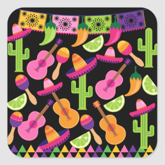 Fiesta Party Sombrero Cactus Limes Peppers Maracas Square Stickers