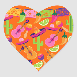 Fiesta Party Sombrero Cactus Limes Peppers Maracas Heart Stickers