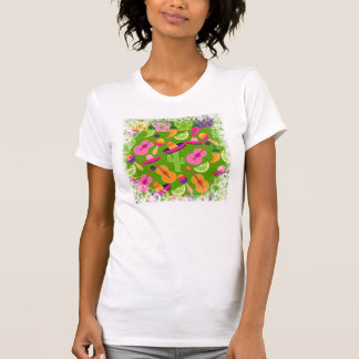 Fiesta Party Sombrero Cactus Limes Peppers Maracas T-shirt