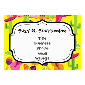 Fiesta Party Sombrero Limes Guitar Maraca Saguaro Large Business Cards (Pack Of 100)