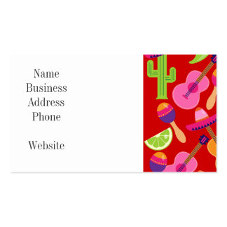 Fiesta Party Sombrero Limes Guitar Maraca Saguaro Double-Sided Standard Business Cards (Pack Of 100)