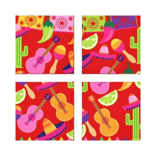 Fiesta Party Sombrero Limes Guitar Maraca Saguaro Canvas Prints