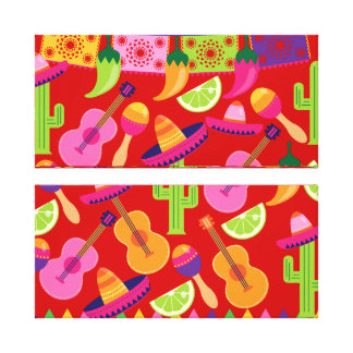 Fiesta Party Sombrero Limes Guitar Maraca Saguaro Canvas Print