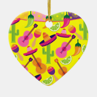 Fiesta Party Sombrero Limes Guitar Maraca Saguaro Ceramic Ornament