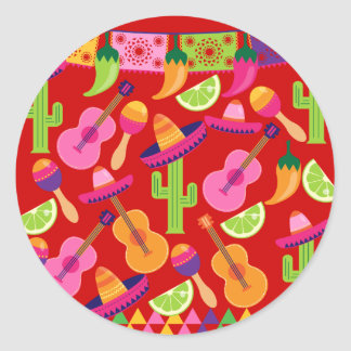 Fiesta Party Sombrero Limes Guitar Maraca Saguaro Classic Round Sticker