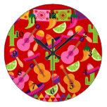 Fiesta Party Sombrero Limes Guitar Maraca Saguaro Wallclocks