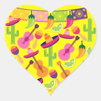 Fiesta Party Sombrero Limes Guitar Maraca Saguaro Heart Sticker