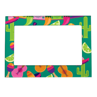 Fiesta Party Sombrero Limes Guitar Maraca Saguaro Magnetic Frame