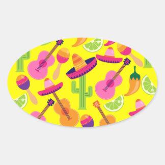 Fiesta Party Sombrero Limes Guitar Maraca Saguaro Oval Sticker