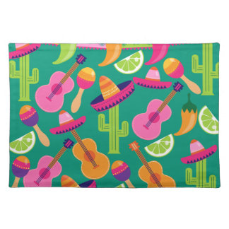Fiesta Party Sombrero Limes Guitar Maraca Saguaro Place Mat