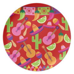 Fiesta Party Sombrero Limes Guitar Maraca Saguaro Dinner Plates